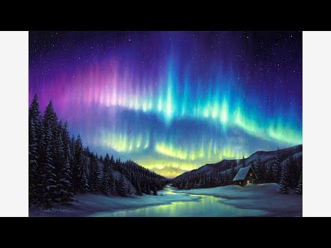 Acrylic Oil Painting Time Lapse Aurora Borealis Youtube
