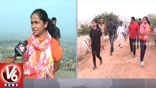 Wanaparthy Collector Sweta Mohanty Participates Trekking In Ghanpur Fort | V6 News