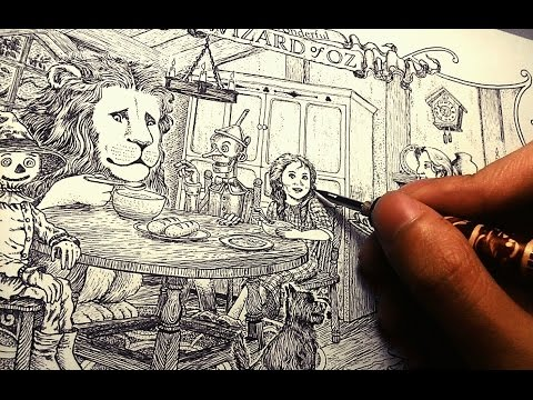 inking tutorial 2: pen and ink wood texture, stippling