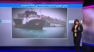 الإعلان عن نجاح عملية تعويم السفينة الجانحة في قناة السويس