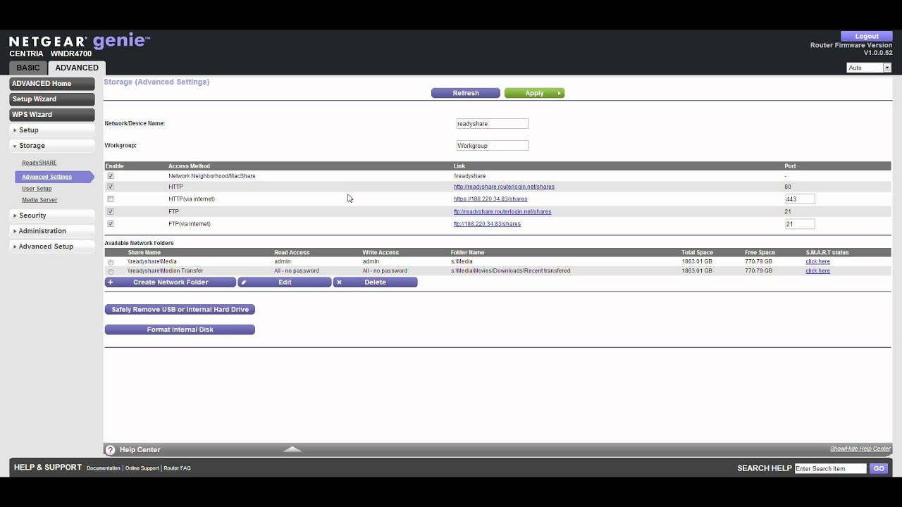 Part 5/5  WNDR4700 Advanced users  Readyshare and FTP setup