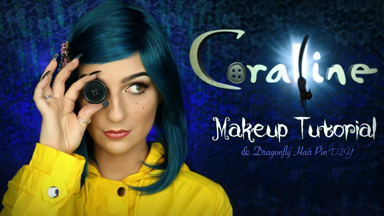 Coraline Makeup Tutorial Dragonfly Hair Pin Diy Halloween 2018 Madalyn Cline Youtube