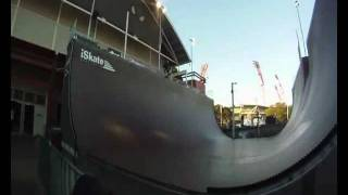 Skateboard Beginner Dropping In 21ft Vert Halfpipe (monster Skatepark)
