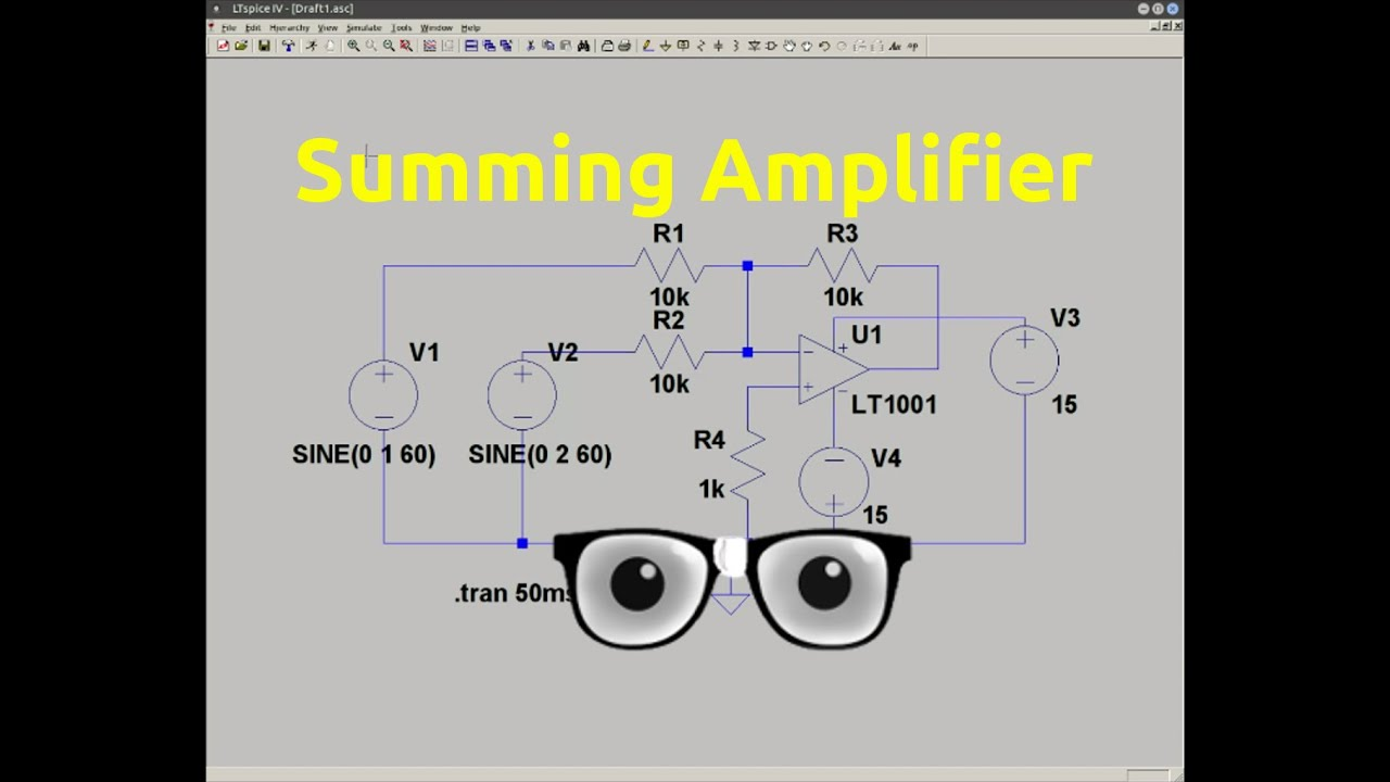Summing Amplifier Circuit Simulation In Ltspice Youtube Op Amp