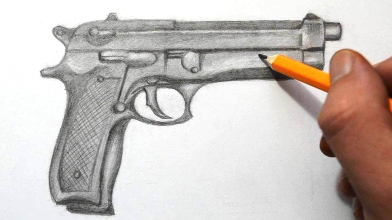 How to draw a gun quick sketch youtube