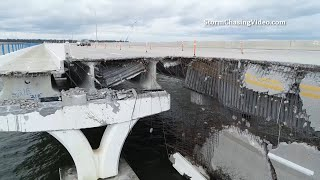 Drone Footage Of Catastrophic Damage To The Three Mile Bridge - 9/17/2020