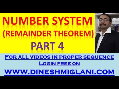 REMAINDER THEOREM  FOR CAT, ELITUMUS, XAT, SNAP , MBA  by Dinesh Miglani