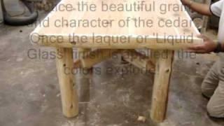 The Log Furniture Cedar Log Dining Table Assembly