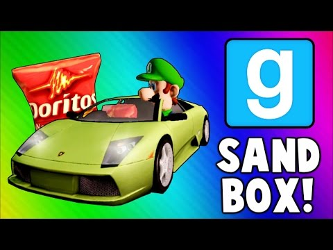 Thumbnail: Gmod Sandbox Funny Moments - Driving Test, Banana Gun, Soccer Fun, To the Butt Cave!