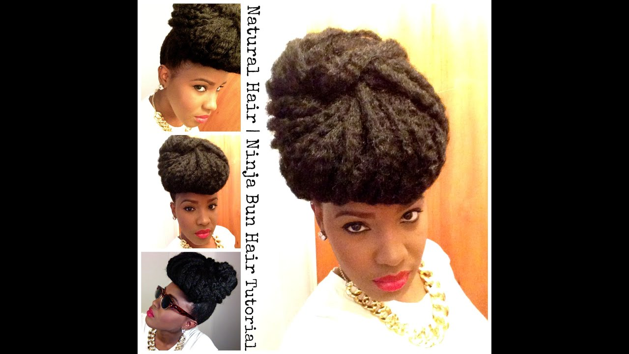 Natural Hair Ninja Bun with Natural Hair &amp Marley Hair - Flat Twist Hairstyles