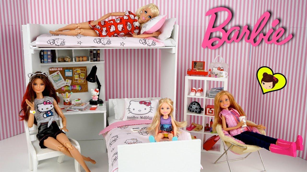 Dormitorio De Barbie Con Literas Para Muñecas Miniaturas De Hello