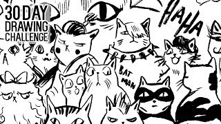 A Full page of CATS! ★ DAY 16 ★ [30 Day Drawing Challenge]
