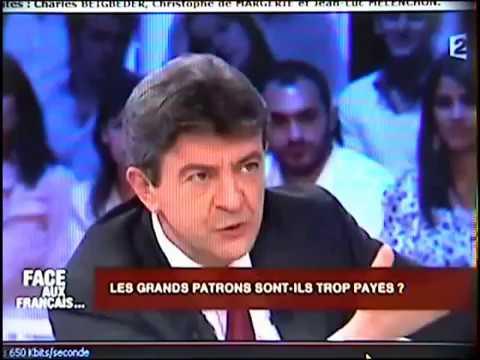 Jean-Luc Mélenchon face à deux grands patrons du CAC 40 . Débat sur les rémunérations