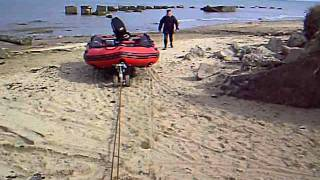 Testing Wakeskate petrol winch pulling boat through soft sand