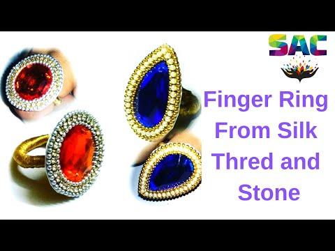 How to make finger ring | kids craft | silk thread rings | paper ring diy | smriti art and craft