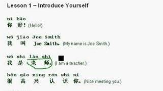 Learn Mandarin Chinese Lesson 1 - Introduce yourself