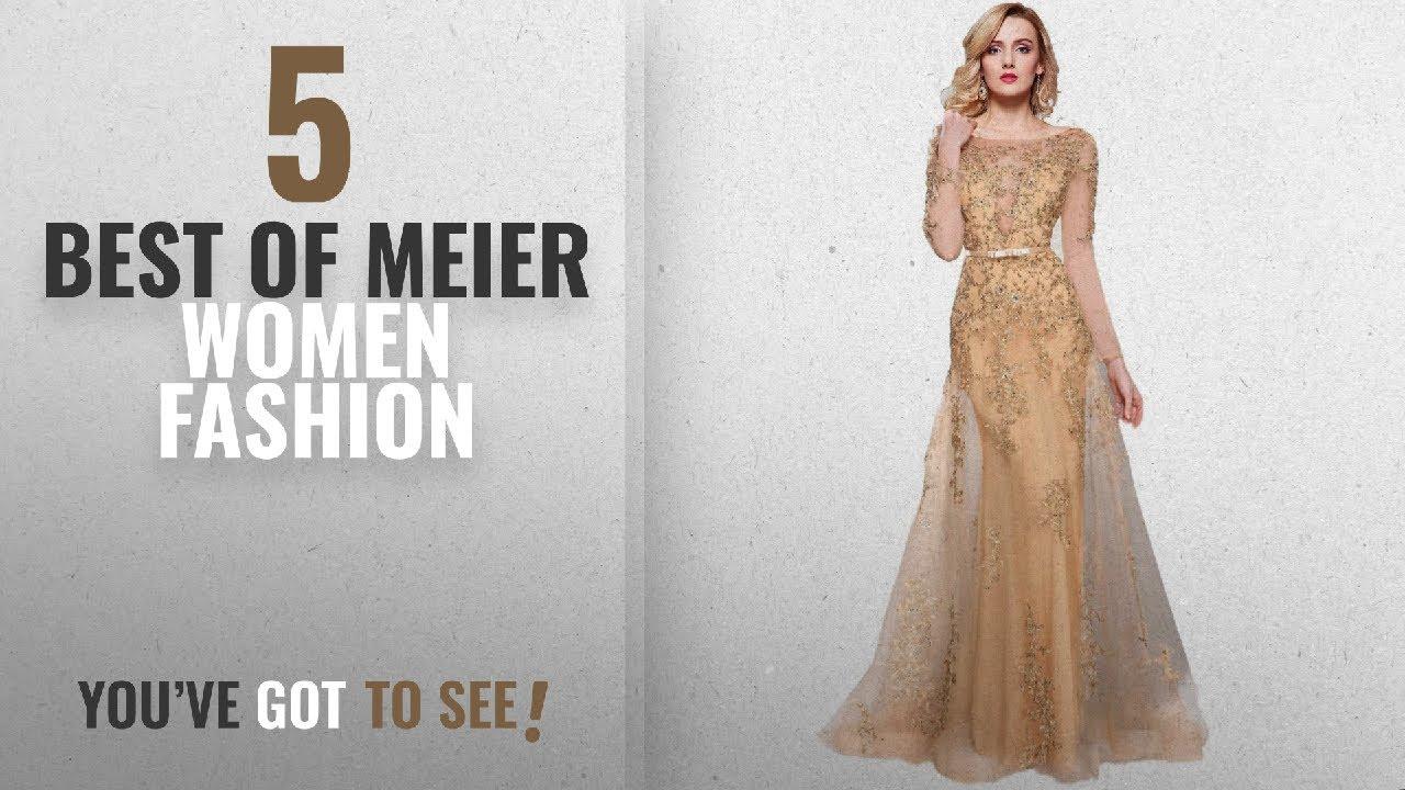 4f820d6e98 Meier Women Fashion  2018 Best Sellers   Meier Women s Illusion Long Sleeve  Embroidery Prom Formal