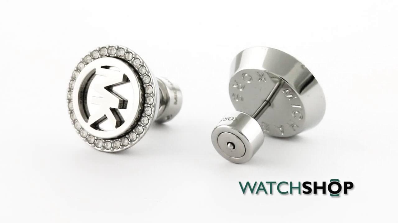 5ab6a2bdf00a Michael Kors Jewellery Ladies' PVD Silver Plated Logo Earrings (MKJ4516040)