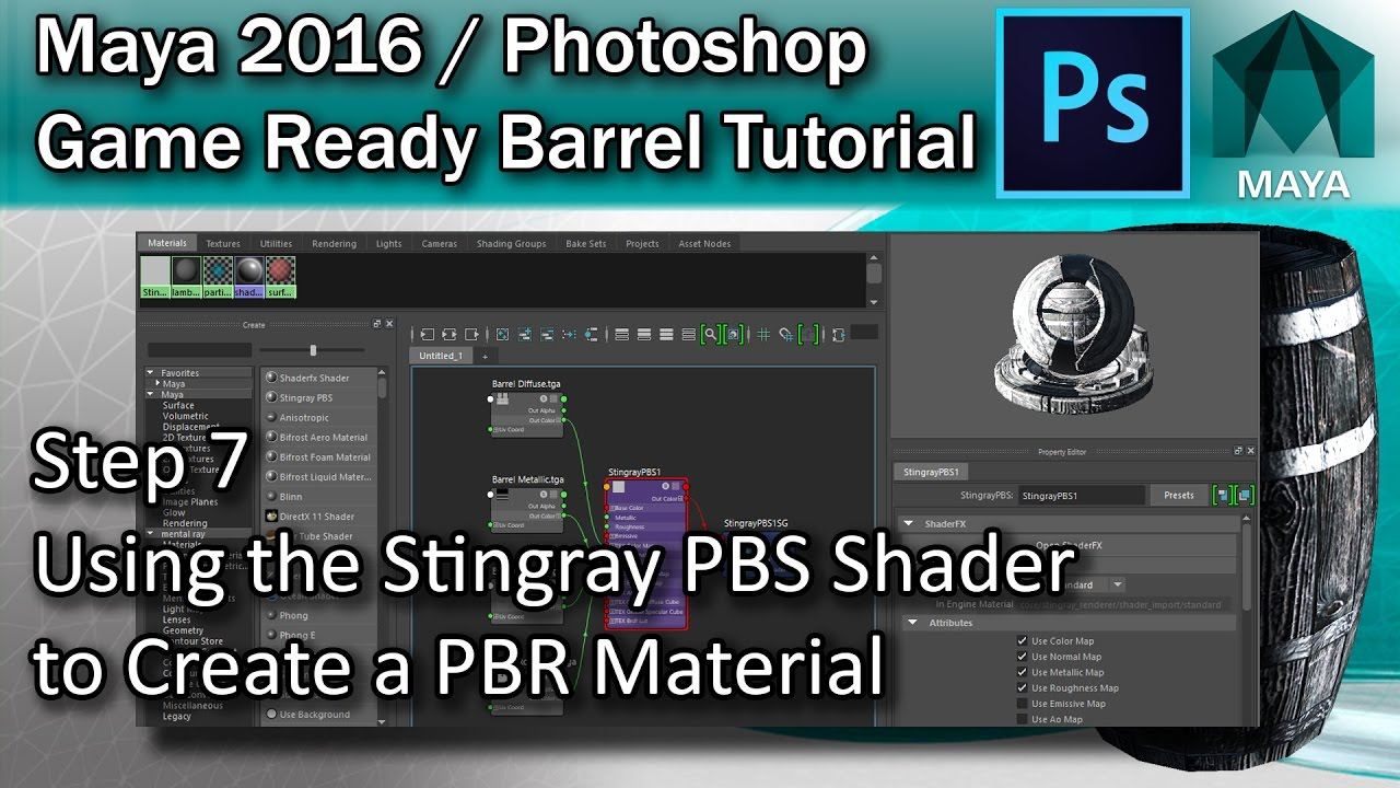 #7 How to create a Stingray PBS PBR Shader Material in Maya - Maya High  Poly to Low Poly Tutorial