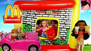 Mc Donald's Drive Thru Inflatable Playland with Frozen Toddler Elsa, Barbie & Moana - Titi Toys