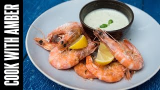 Salt-Grilled Shrimp w/ Lemon-Basil Dipping Sauce: How to Grill Shrimp | Cook With Amber & Bart