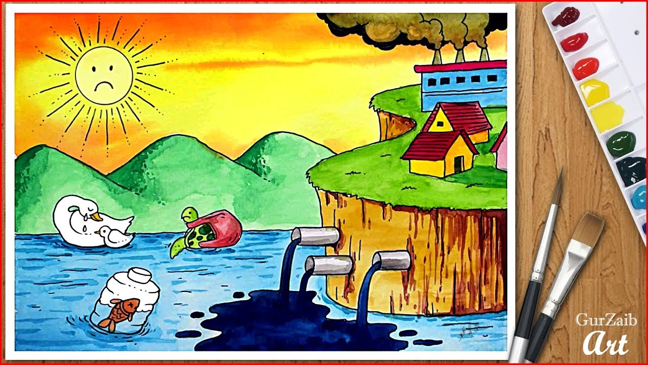 How to draw stop water pollution drawing || poster chart ...