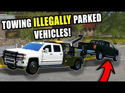SQUAD'S REPO IS BACK! TOWING ILLEGALLY PARKED VEHICLES FOR THE CITY | FARMING SIMULATOR 2017