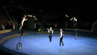 Circus jugglers on monocycles - Chugunovs family