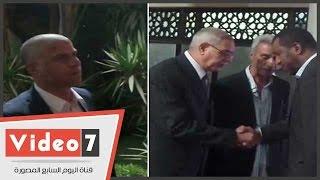 """بالفيديو..العامرى فاروق ووائل جمعة وربيع ياسين فى عزاء """"شقيقة"""" الخطيب"""
