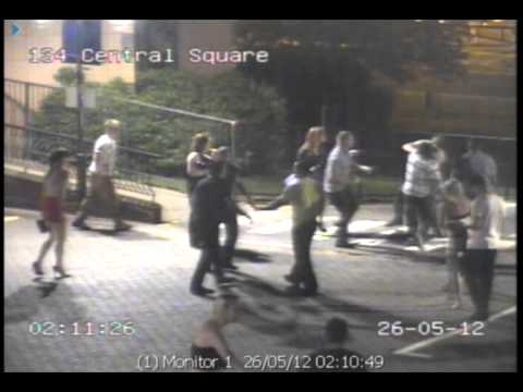 Telford Town Centre CCTV assault footage