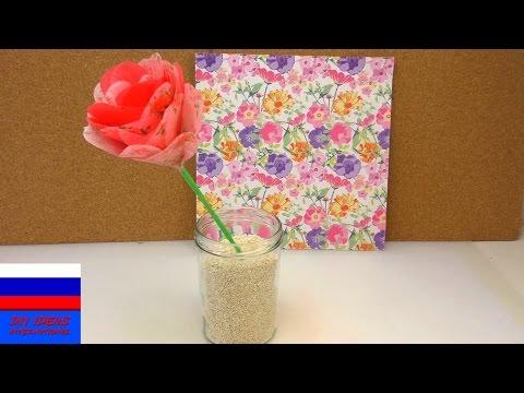 Смотреть Декор идея роза из шелковой бумаги своими руками
