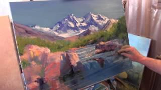 Научиться рисовать горы, уроки живописи для новичков, художник Сахаров