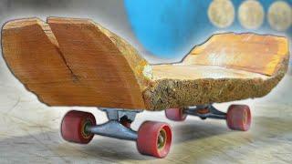 THE WOODEN LOG SKATEBOARD YOU MAKE  T WE SKATE  T