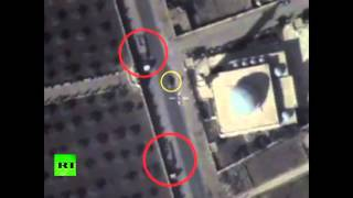 Russian MoD releases video of suspected ISIS vehicles being deployed close to mosque