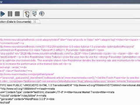 Rapidminer 5.0 Video Tutorial #14 - Web Mining Financial Web Sites - Part 1