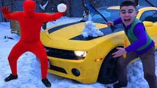 Janitor Red Man with Snow VS Mr. Joe on Chevrolet Camaro Started Race in Winter for Kids