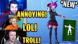 """Streamers React to *NEW* """"Air Horn"""" Emote! *TROLLING*   Fortnite Highlights & Funny Moments"""