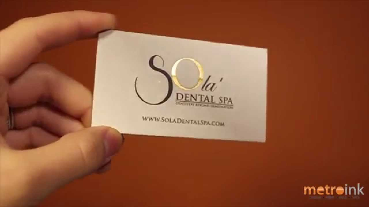 Metroink Cotton Business Card With Foil Stamp Sola Dental - YouTube