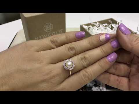 Кольцо 799 из красного золота 585 пробы с жемчугом и фианитами