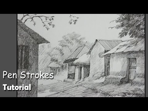 Pen & Ink Drawing Tutorial | How to draw a House Landscape