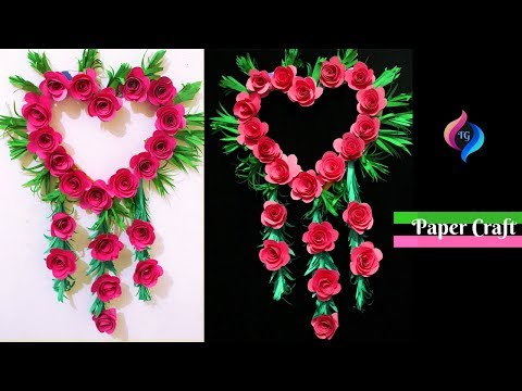 How to Make Paper Wall Hanging Easy and Quick - Paper Flower Diy - Paper Rose Flower Decoration