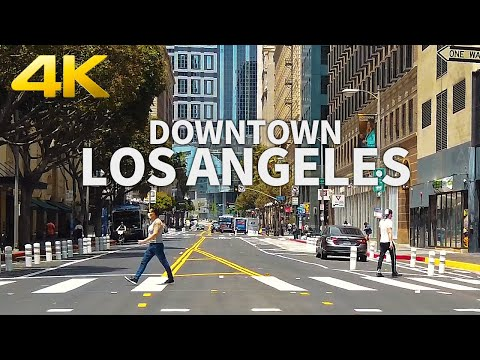 Walking Downtown Los Angeles Partially Reopening (11th, Grand Ave, 7th Street), California, USA, 4K