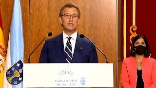 """Feijóo promete su cargo por cuarta vez apelando a la """"moderación"""" y la """"cogobernanza"""""""