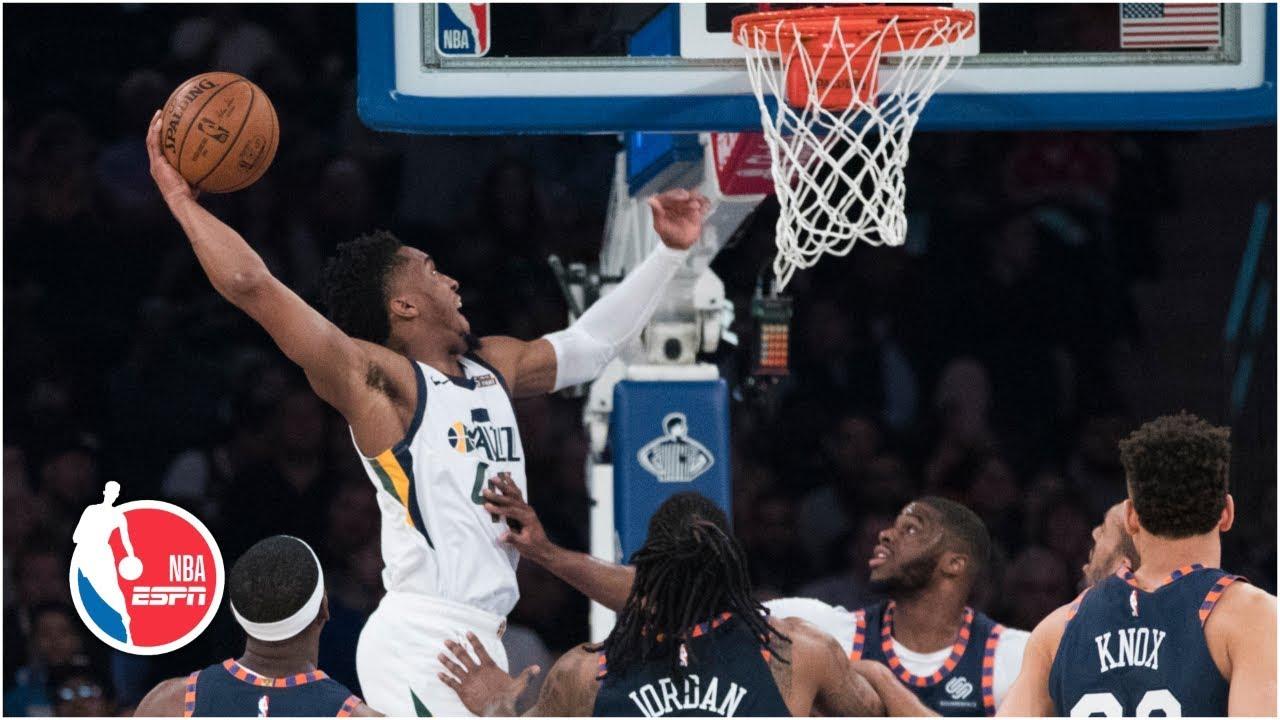 Donovan Mitchell hammers dunk in 30-point night   Jazz vs. Knicks   NBA Highlights