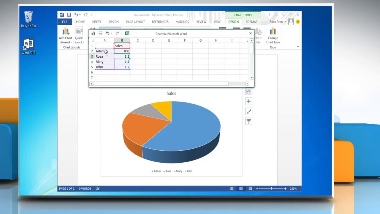 How To Make A Pie Chart In Microsoft Word 2013 Youtube Diagram