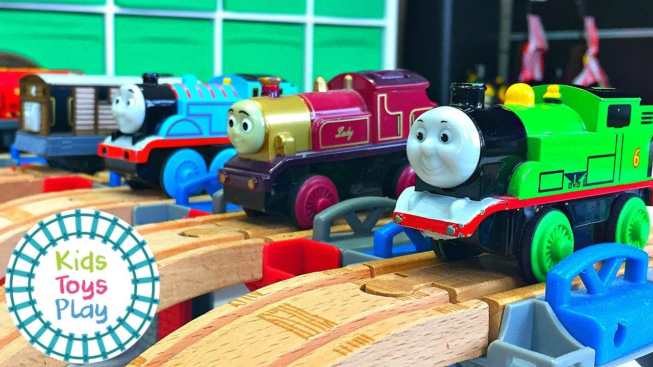 Thomas the Train Worlds Fastest Engine | Mystery Wheel Toy Train Races