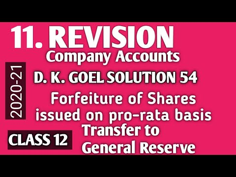Download 11. REVISION: DK GOEL SOLUTION 54 forfeiture of pro-rata allotted Shares,  Class XII Accountancy