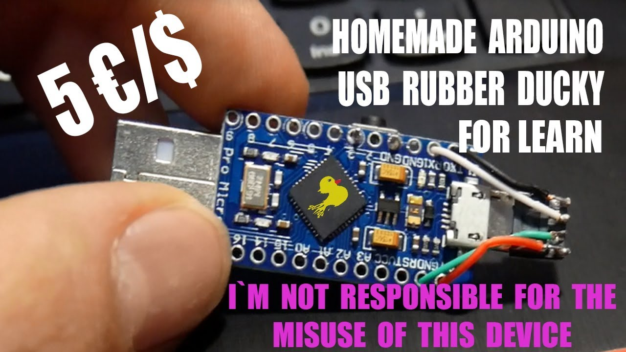 Homemade diy arduino micro usb rubber ducky for learning