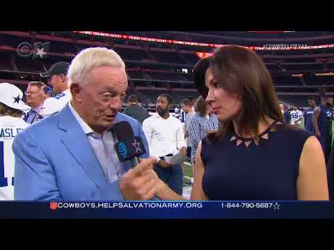 The Cowboys and The Salvation Army raise money for Harvey Victims- Jerry Jones & Kaley OKelley