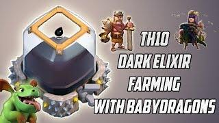 Th10 Dark Elixir Farming With Baby Dragons |Best Army For Dark Farming|Clash Of Clans